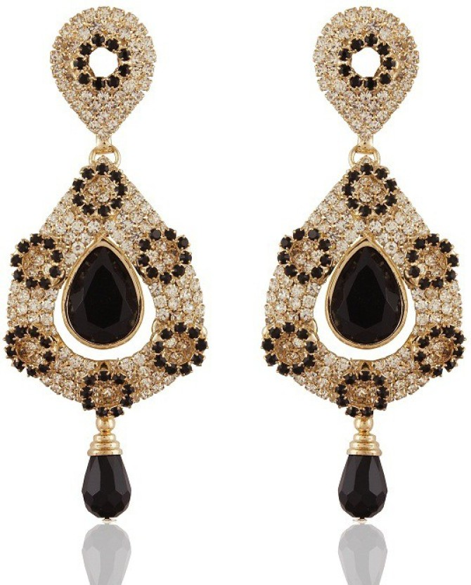 Rich Lady Appealing Black Gold Plated Alloy Chandelier Earring