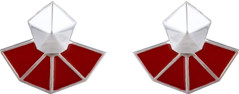 Mirror White Prisma Pentagon Maroon Studs Sterling Silver Stud Earring