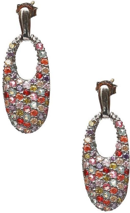 LeCalla Multi Color Stone Modern Classy Sterling Silver Stud Earring