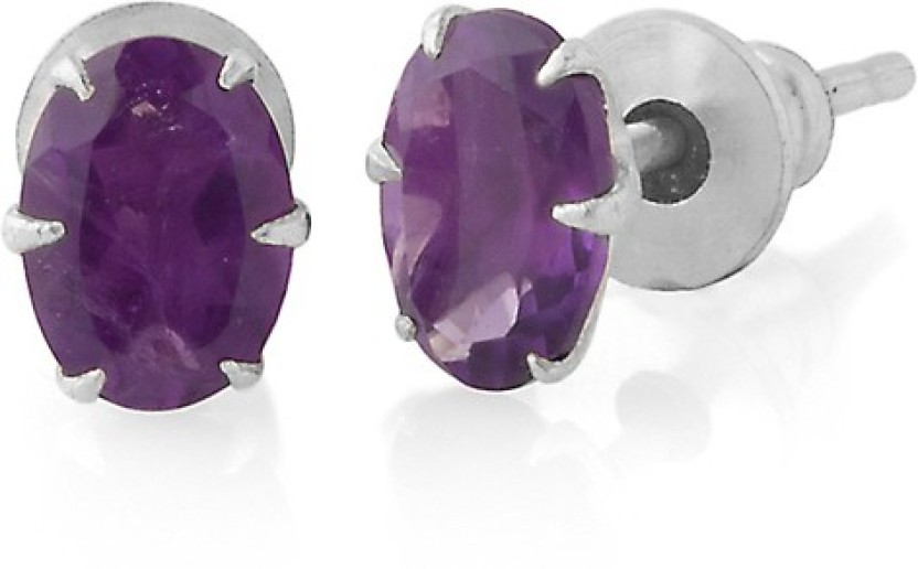 Gemshop CHARMING OVAL SHAPE PAIR OF EMBEDDED WITH STONE Alloy Stud Earring