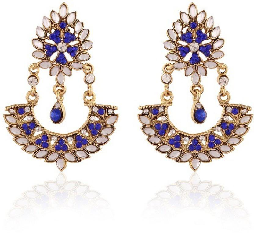Rich Lady Splendid Purple Meenakri Gold Plated Alloy Chandelier Earring
