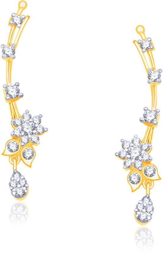 VK Jewels Rounding Leaf Cubic Zirconia Alloy Cuff Earring