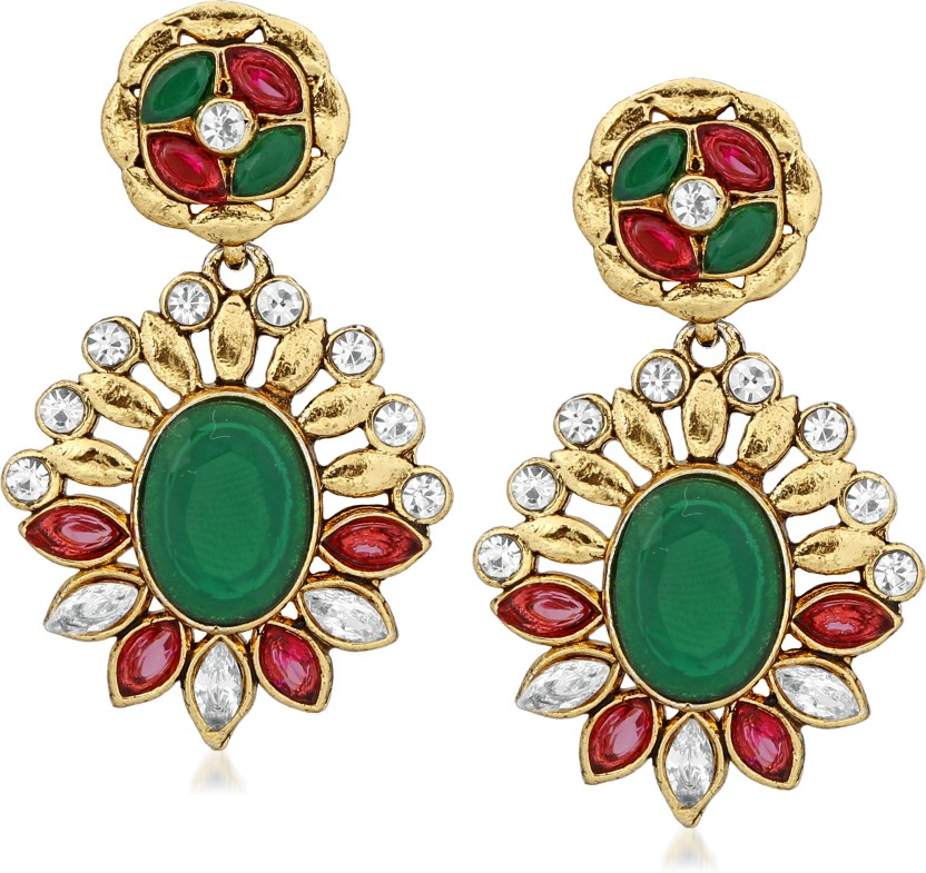 VK Jewels Green Antique Finish Gold Plated Alloy Drop Alloy Drop Earring