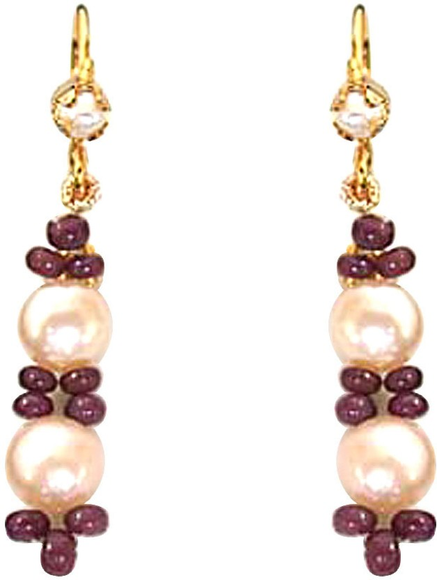 Surat Diamond Ruby Beads and Peach Button Pearl, Ruby Metal Dangle Earring