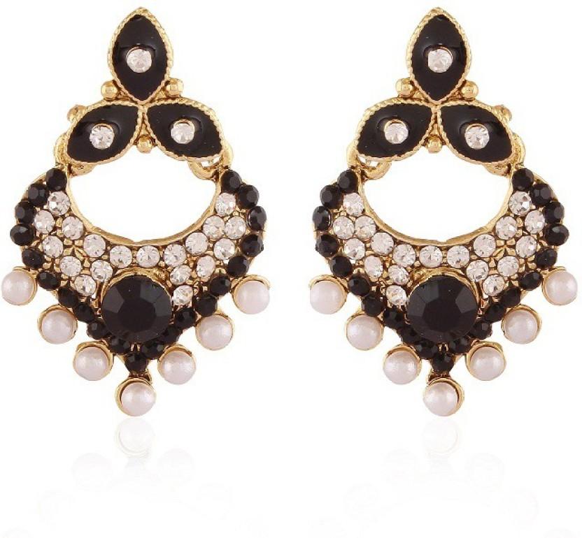 Rich Lady Green Meenakri Pearl Gold Plated Alloy Chandelier Earring