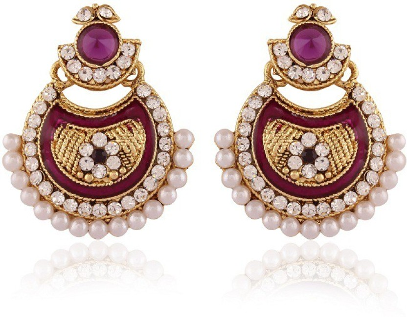 Rich Lady Purple Meenakri Pearl Gold Plated Alloy Chandelier Earring