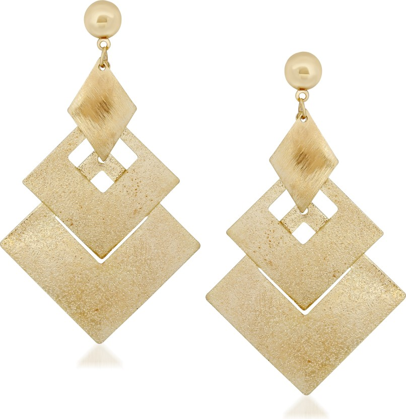 VK Jewels Three Drop Square Alloy Drop Earring
