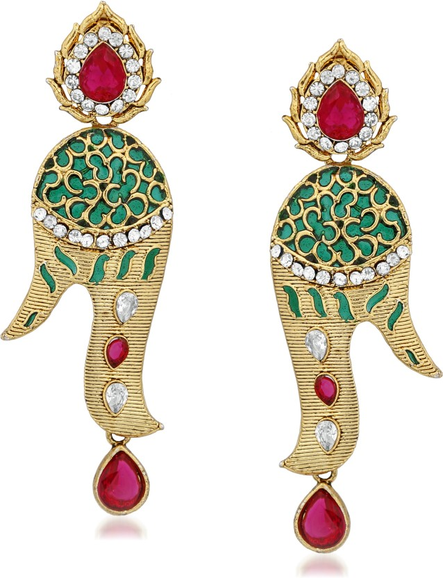 VK Jewels Kundan Flower Gold Plated Alloy Drop Alloy Drop Earring