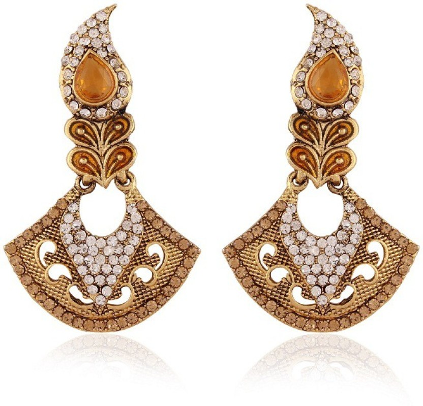 Rich Lady Alluring Gold Plated Jewellery Alloy Chandelier Earring