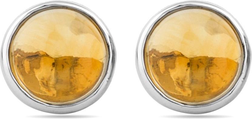 Voylla Precious Simplicity Plain Citrine Sterling Silver Stud Earring