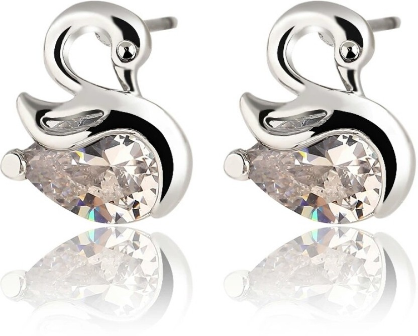 Bling N Beads Designer Alloy, Silver Stud Earring