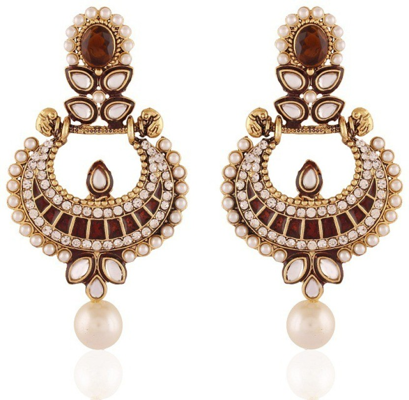 Rich Lady Touchstone Brown Gold Plated Jewellery Alloy Chandelier Earring