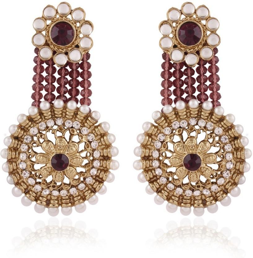 I Jewels kundan meenakari Alloy Chandbali Earring