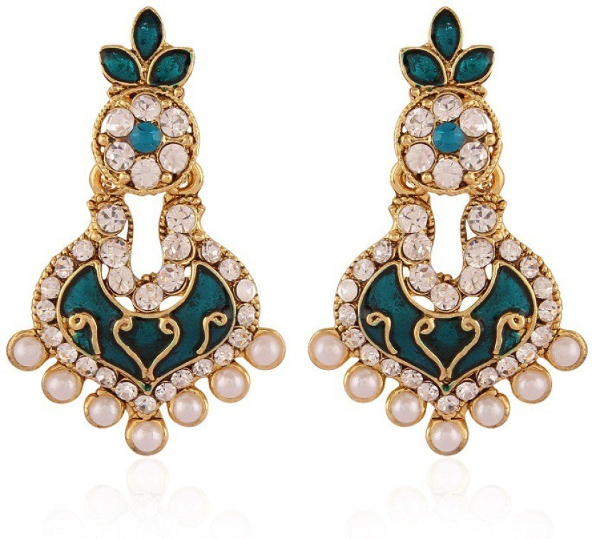 Rich Lady Delightly Black Pearl Gold Plated Alloy Chandelier Earring