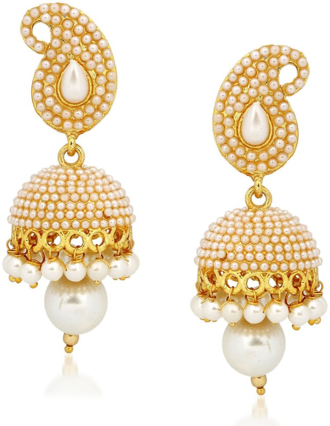 Meenaz Kundan Pearl Jhumki Earrings For Women Ear rings for Girls in Traditional Ethnic Gold Plated Cubic Zirconia Alloy Jhumki Earring
