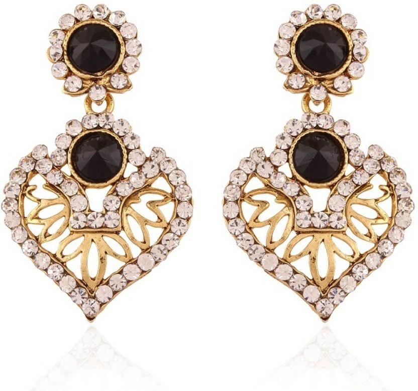 Rich Lady Black Resplendent Gold Plated Alloy Chandelier Earring
