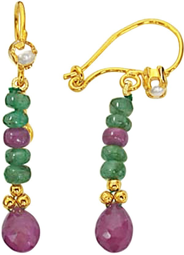 Surat Diamond Lovers Knot Emerald, Ruby Metal Drop Earring