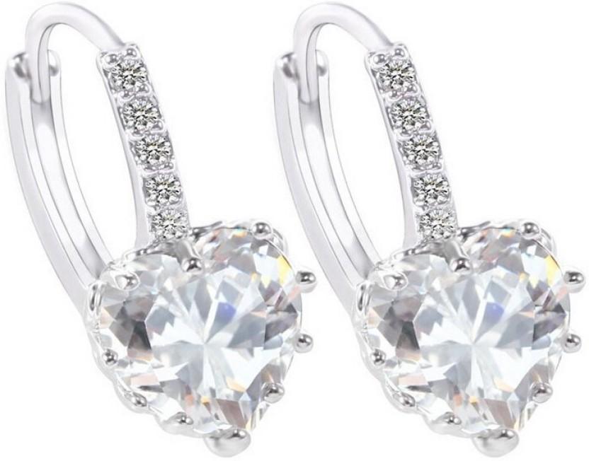 Crunchy Fashion White Heart Sterling Alloy Dangle Earring