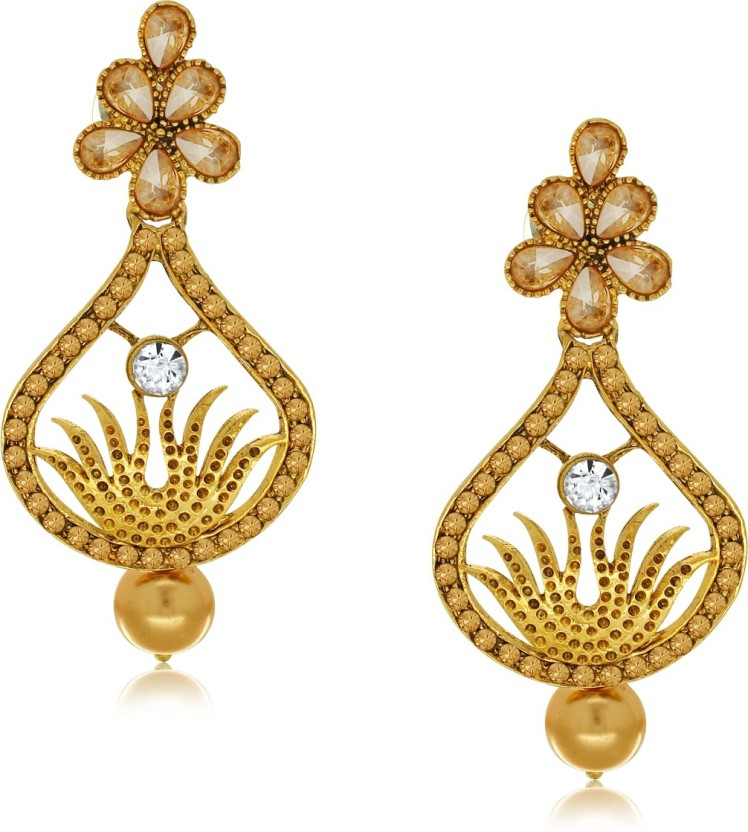 Spargz Fire Design Gold Suspended with Pearl Drop Alloy Drop Earring
