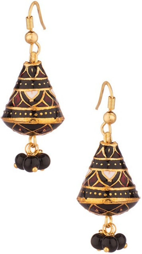 Gemshop Enamel Jhumkis Studded With Red Beads Droppings Alloy Dangle Earring