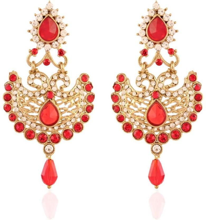 I Jewels Meenakari Alloy Chandbali Earring