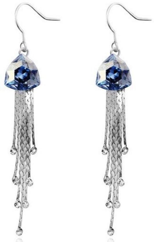 WearYourFashion Long Rain Drop Crystal Alloy Dangle Earring
