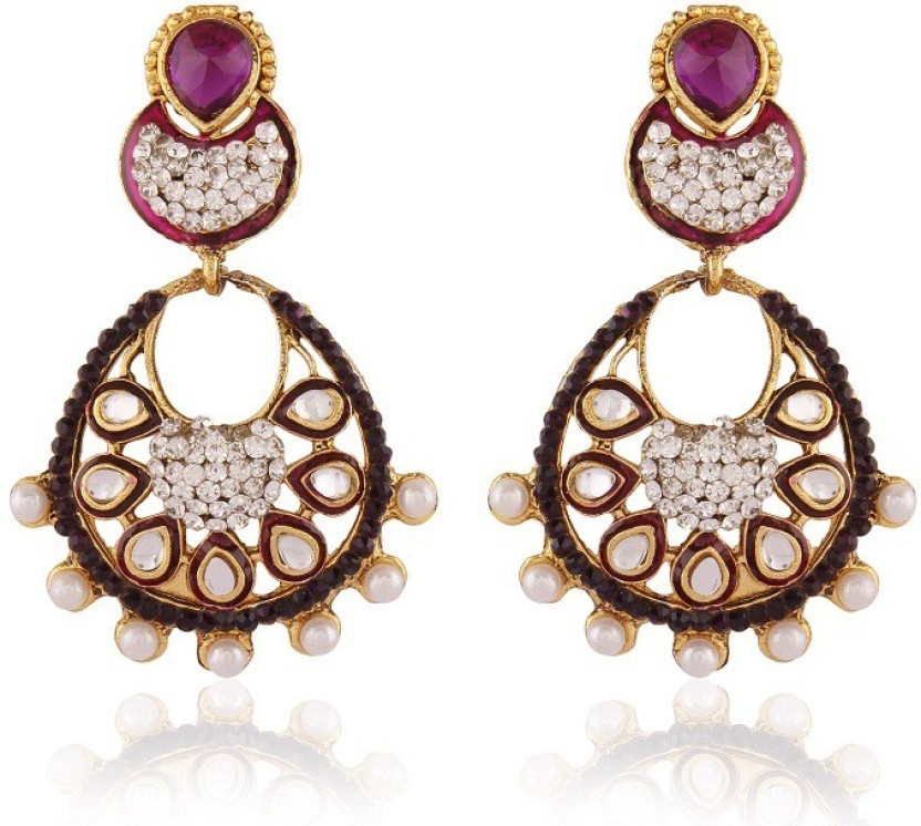 Rich Lady Splendid Purple Meenakri Gold Plated Alloy Chandelier Earring