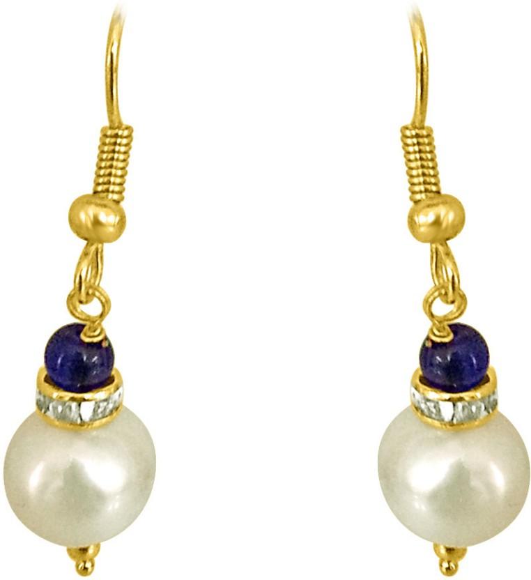 Surat Diamond Real Big Pearl and Blue Stone Pearl Metal Dangle Earring