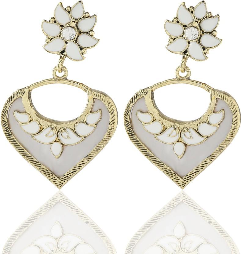 Castle Street White Heart Alloy, Acrylic Chandelier Earring