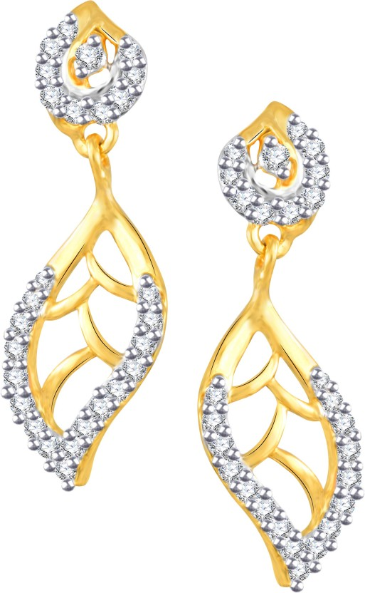 Vidhi Jewels Leaf Shaped Cubic Zirconia Alloy, Brass Drop Earring
