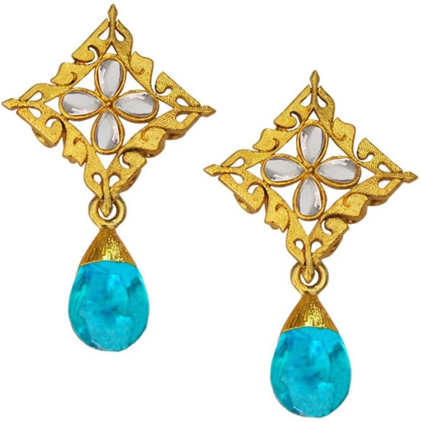 Being Women Square Design with Drop Stone Alloy Drop Earring