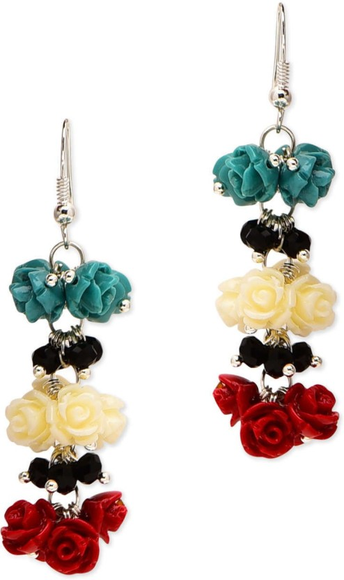 Golden Peacock Floral Shaped Hanging Coral Alloy Drop Earring