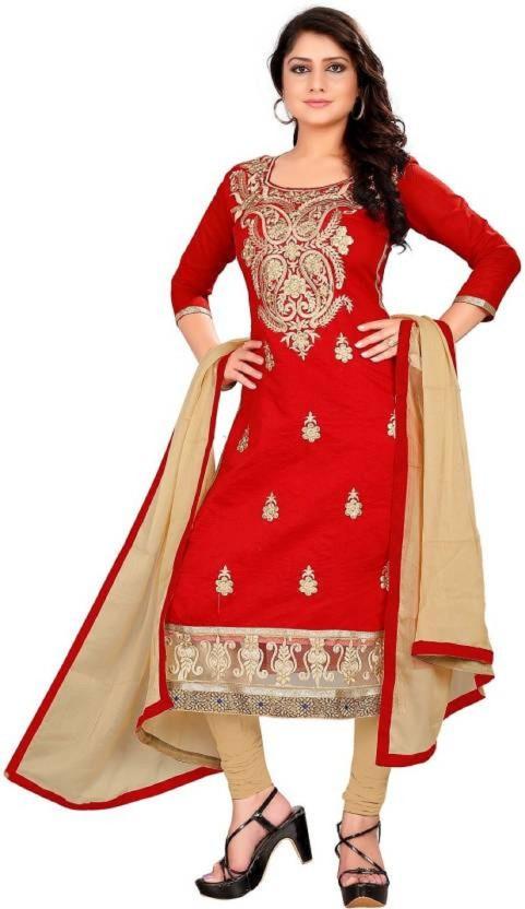 Julee Georgette Embroidered Semi-stitched Salwar Suit Dupatta Material