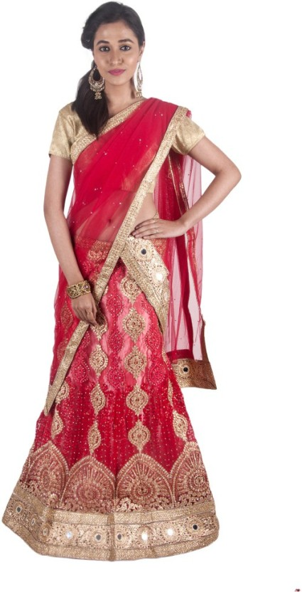 Swaron Nylon Net Embroidered, Embellished Semi-stitched Salwar Suit Dupatta Material