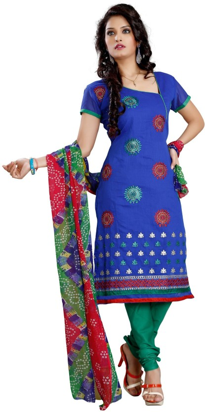 Trendz Apparels Chanderi Embroidered Dress/Top Material