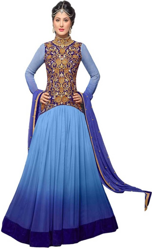Javuli Synthetic Georgette Embroidered Semi-stitched Salwar Suit Dupatta Material