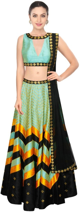 Fabron Cotton Polyester Blend Printed, Embroidered Semi-stitched Lehenga Choli Material