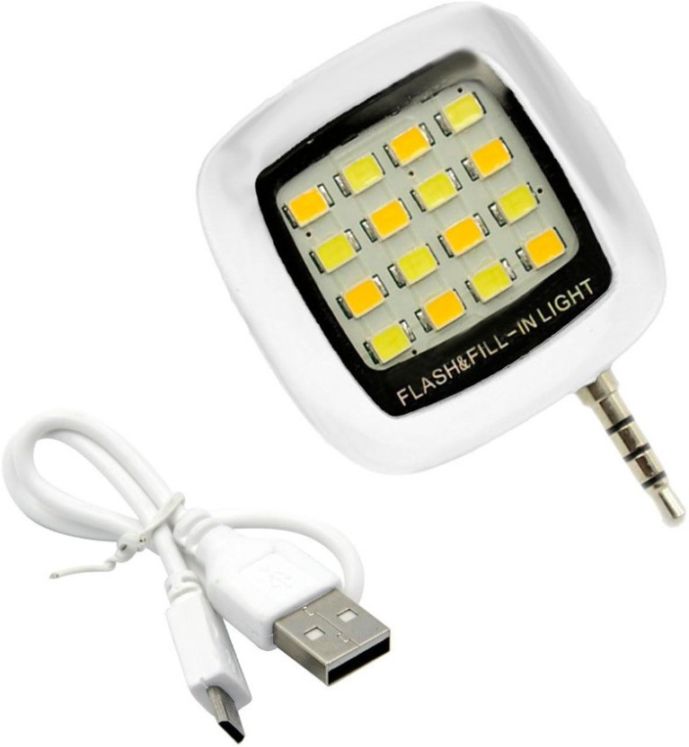 KOJO Portable Mini 16 LED Night Using Selfie Flash Fill-in Light Pocket Spotlight for all Smartphones & Apple phones Flash (Black) Flash