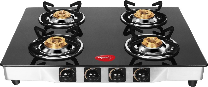 Pigeon Blackline Square Stainless Steel, Glass Automatic Gas Stove
