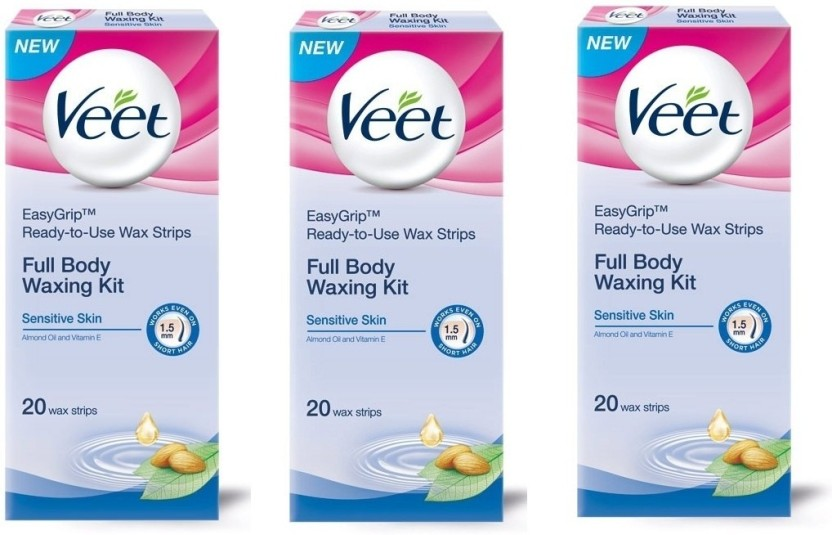 Veet Full Body Waxing Kit Sensitive (Pack of 3) Cream