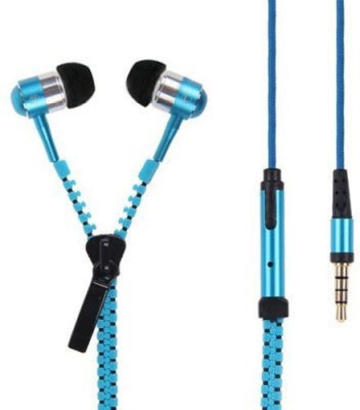 Edmotic I-ZIPPY TANGLE FREE ZIP EARPHONE (Blue) Headphone