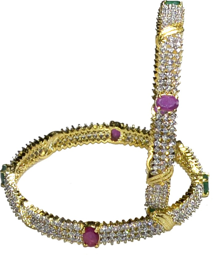 Jewels Kafe Alloy Cubic Zirconia 18K Yellow Gold Bangle Set