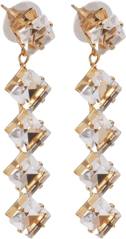 Sansar India Crystals Drop Crystal Alloy Drop Earring