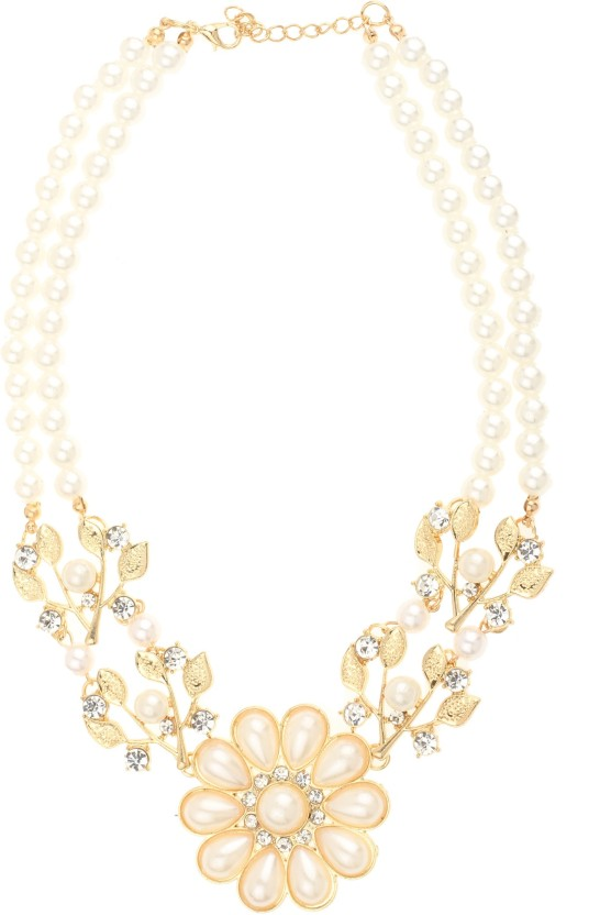 Bling N Beads flower pendant Double line Pearl Alloy Necklace