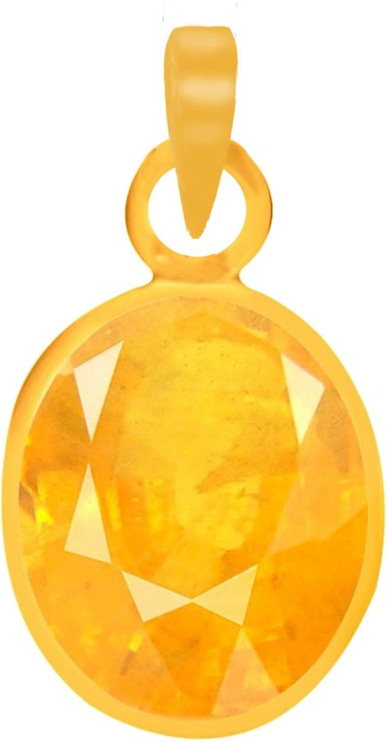 PTM Natural Certified Yellow Sapphire (Pukhraj) Gemstone 3.25 Ratti or 2.96 Carat for Male Panchdhatu 22K Gold Plated Alloy Pendant