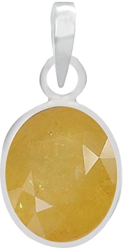 PTM Natural Certified Yellow Sapphire (Pukhraj) Gemstone 3.25 Ratti or 2.96 Carat for Male and Female Sterling Silver Pendant