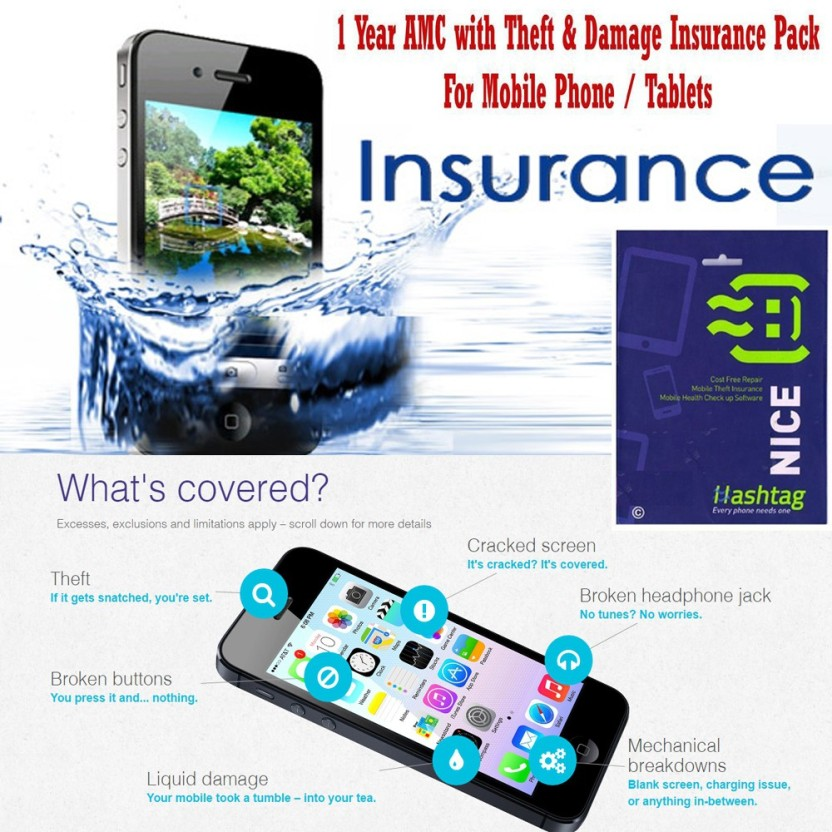 Hashtag 1 Year AMC for Mobile Phones / Tablets - Screen Damage, Battery Damage, Water Logging & Theft Insurance Pack (for Smart Phones & Tablets Valued above 50k)