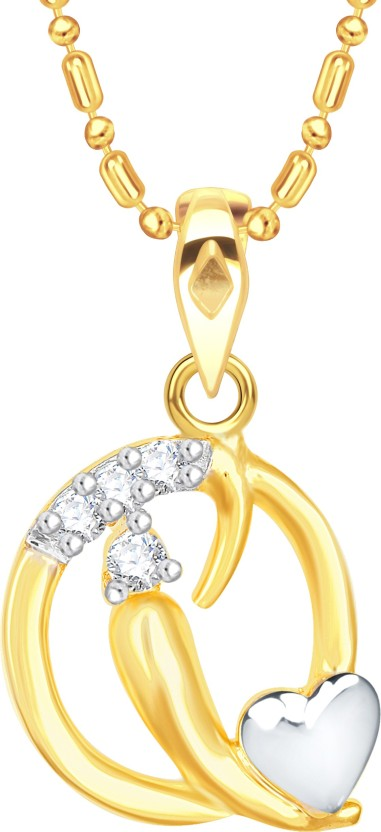 "Vidhi Jewels Cursive \""Q\"" with Heart Alphabet 18K Yellow Gold Cubic Zirconia Alloy, Brass Pendant"
