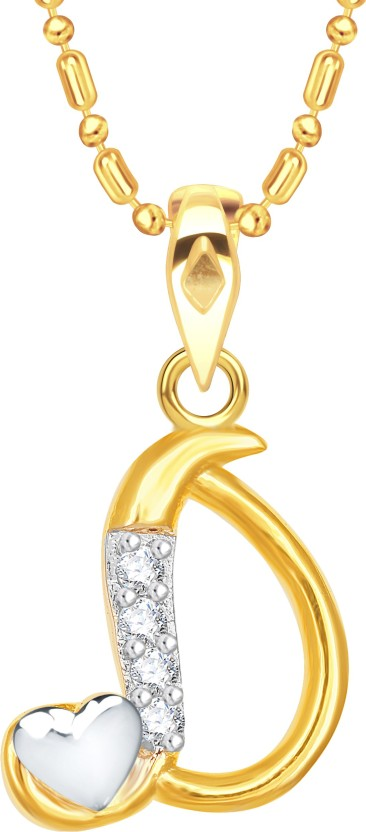 "Vidhi Jewels Cursive \""D\"" with Heart Alphabet 18K Yellow Gold Cubic Zirconia Alloy, Brass Pendant"