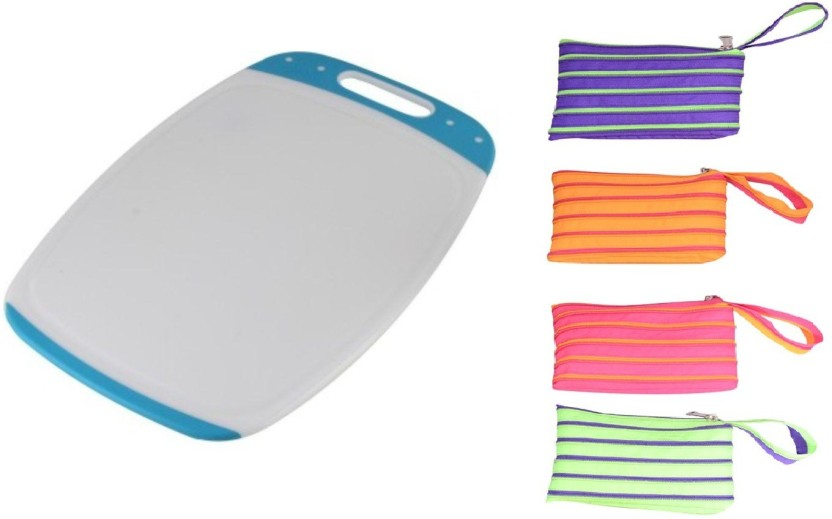 CSM Combo Of 4 Zipper Pouches and 1 Chopping Board Plastic Cutting Board
